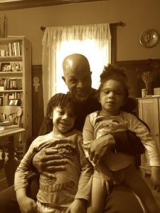 Ashanti Alston with his two children, Biko and Yasmeen