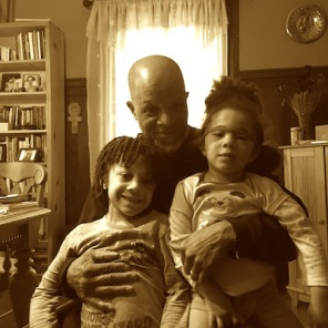 Ashanti Alston with his two children, Biko and Yasmeen